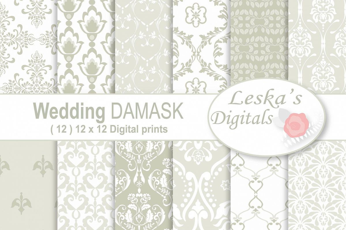 Wedding Damask Pattern Digital Paper example image 1