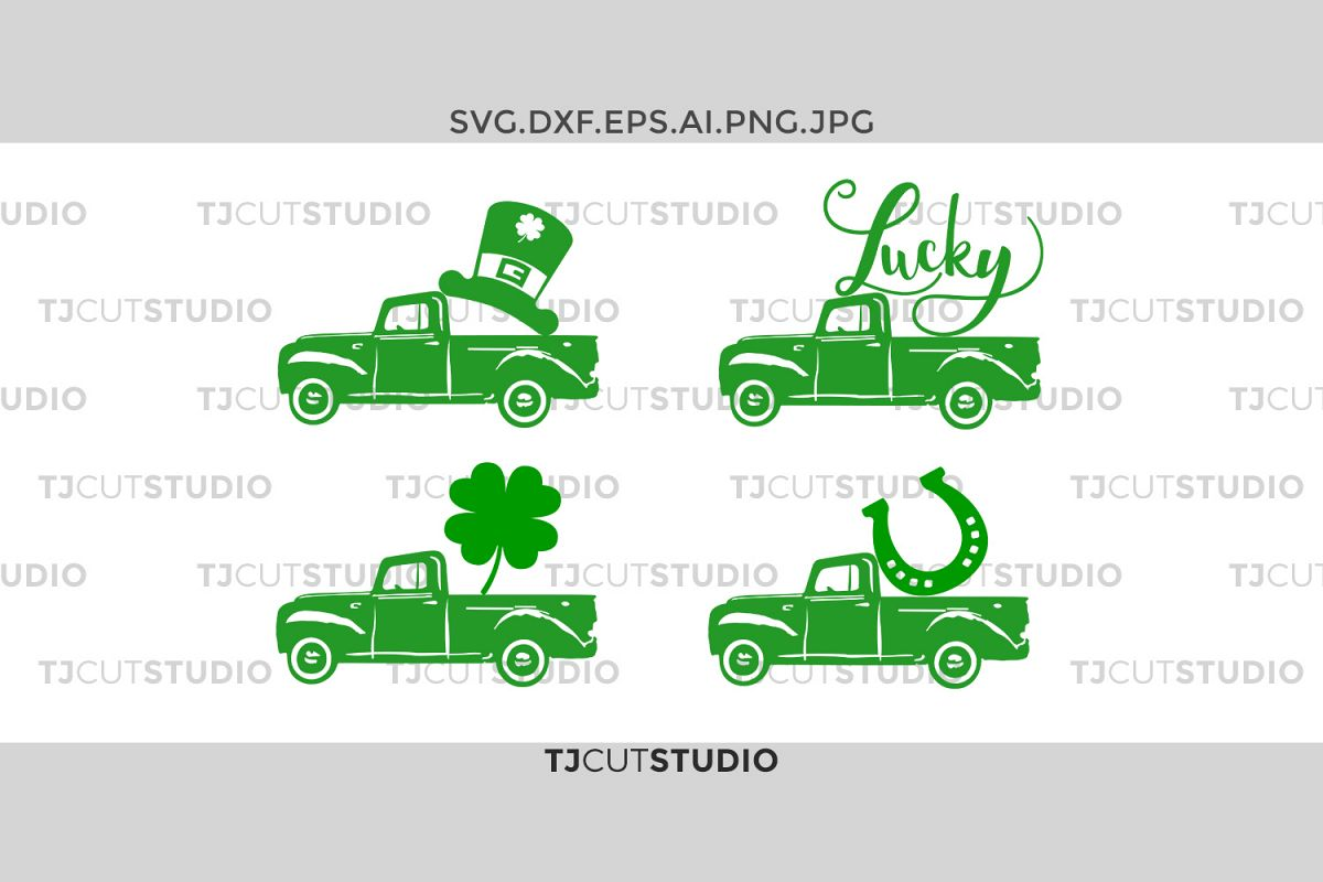 st patricks Truck SVG, truck saint patrick svg, truck shamrock svg, Svg Files for Silhouette Cameo or Cricut Commercial & Personal Use. example image 1