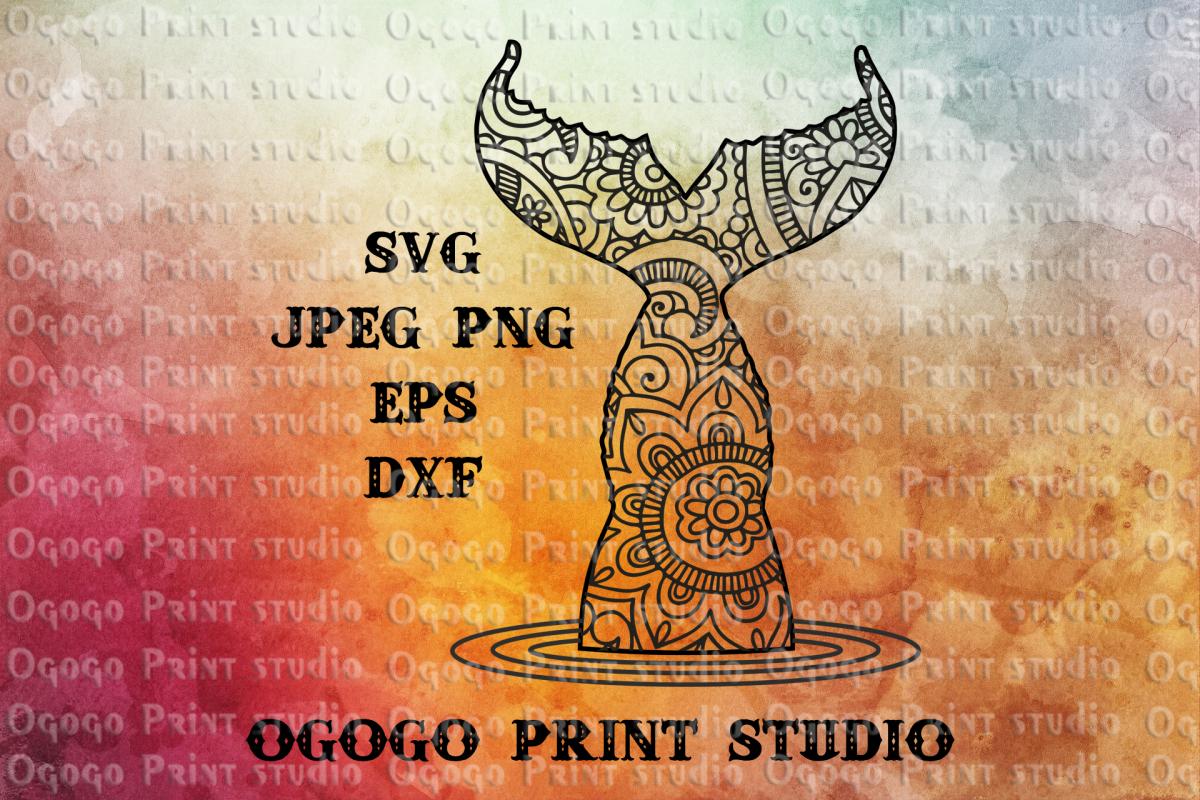 Mermaid tail SVG, Ariel svg, Zentangle SVG, Mandala svg example image 1