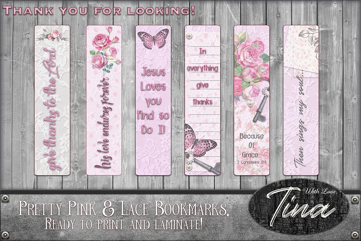 Bookmarks Pink Lace Butterflies Roses Inspiration 091618BM1 example image 1