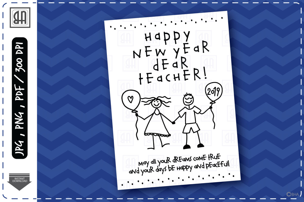 teacher holiday greeting card new year greeting card example image 1
