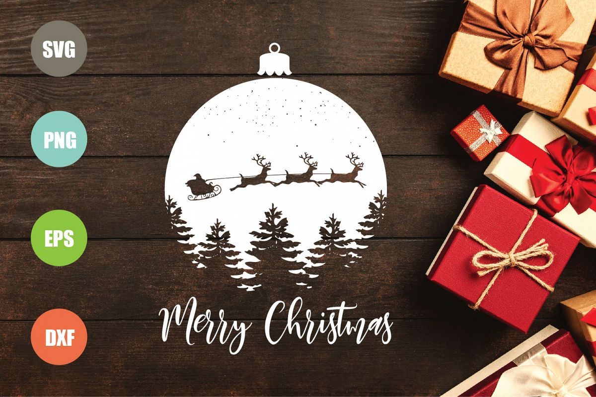 Merry Christmas SVG, Christmas Ornament SVG example image 1