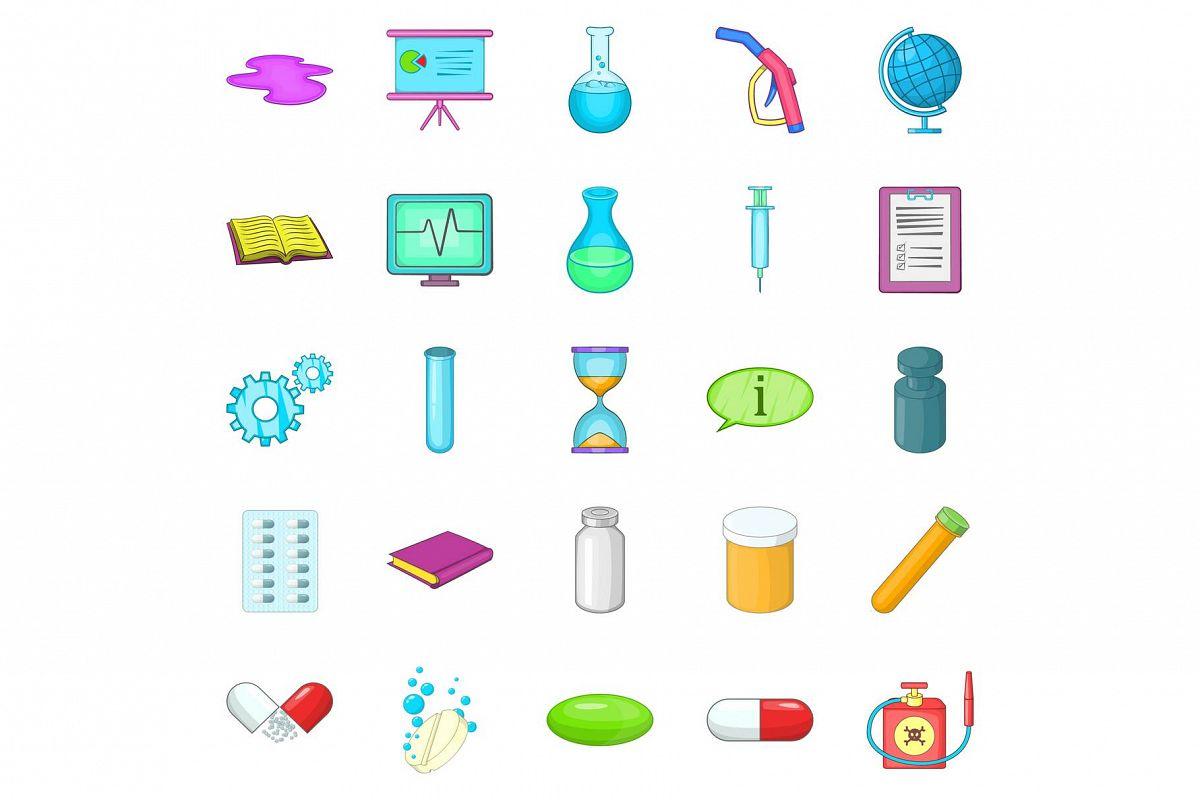 Substance icons set, cartoon style example image 1