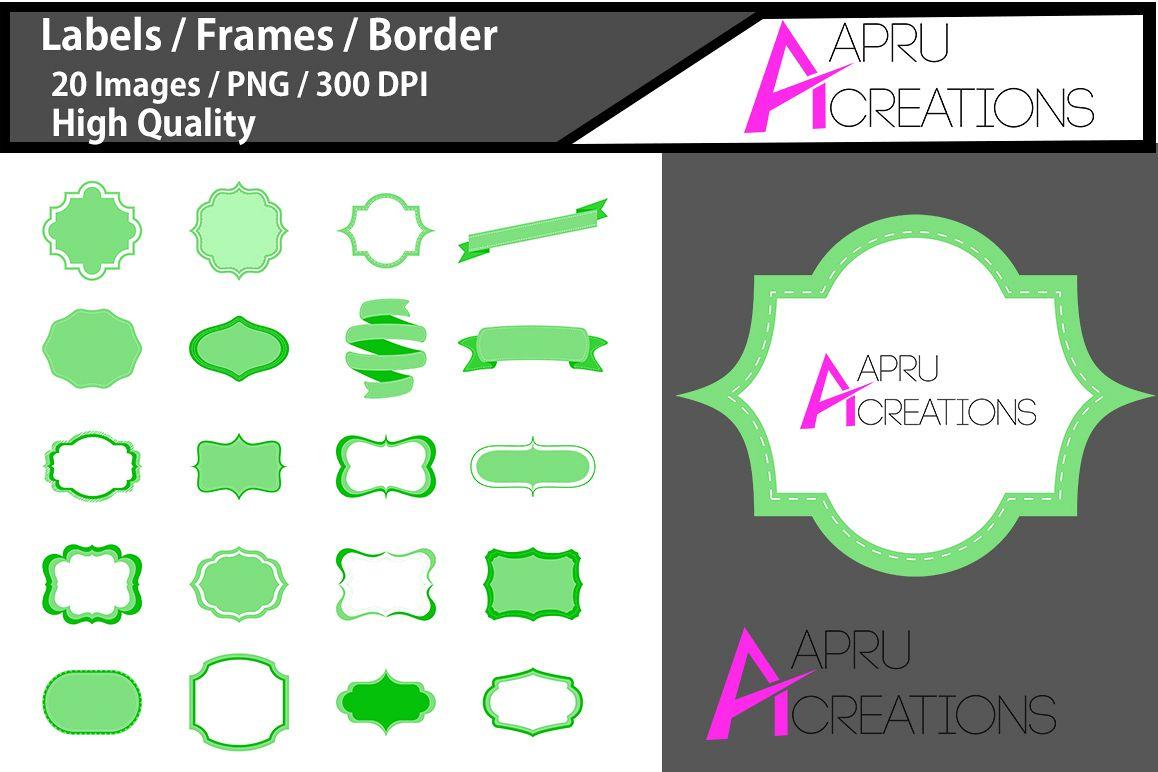 digital frames clip art light green label vector cut file svg