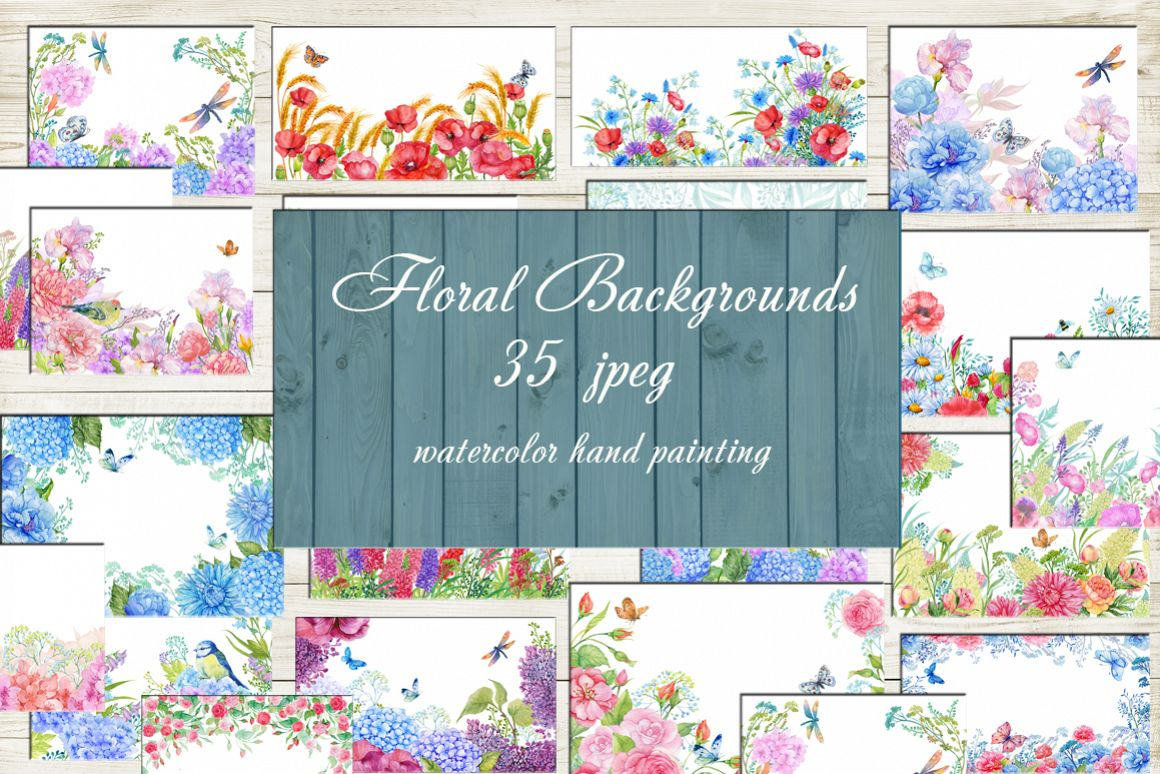 35 floral backgrounds watercolor example image 1