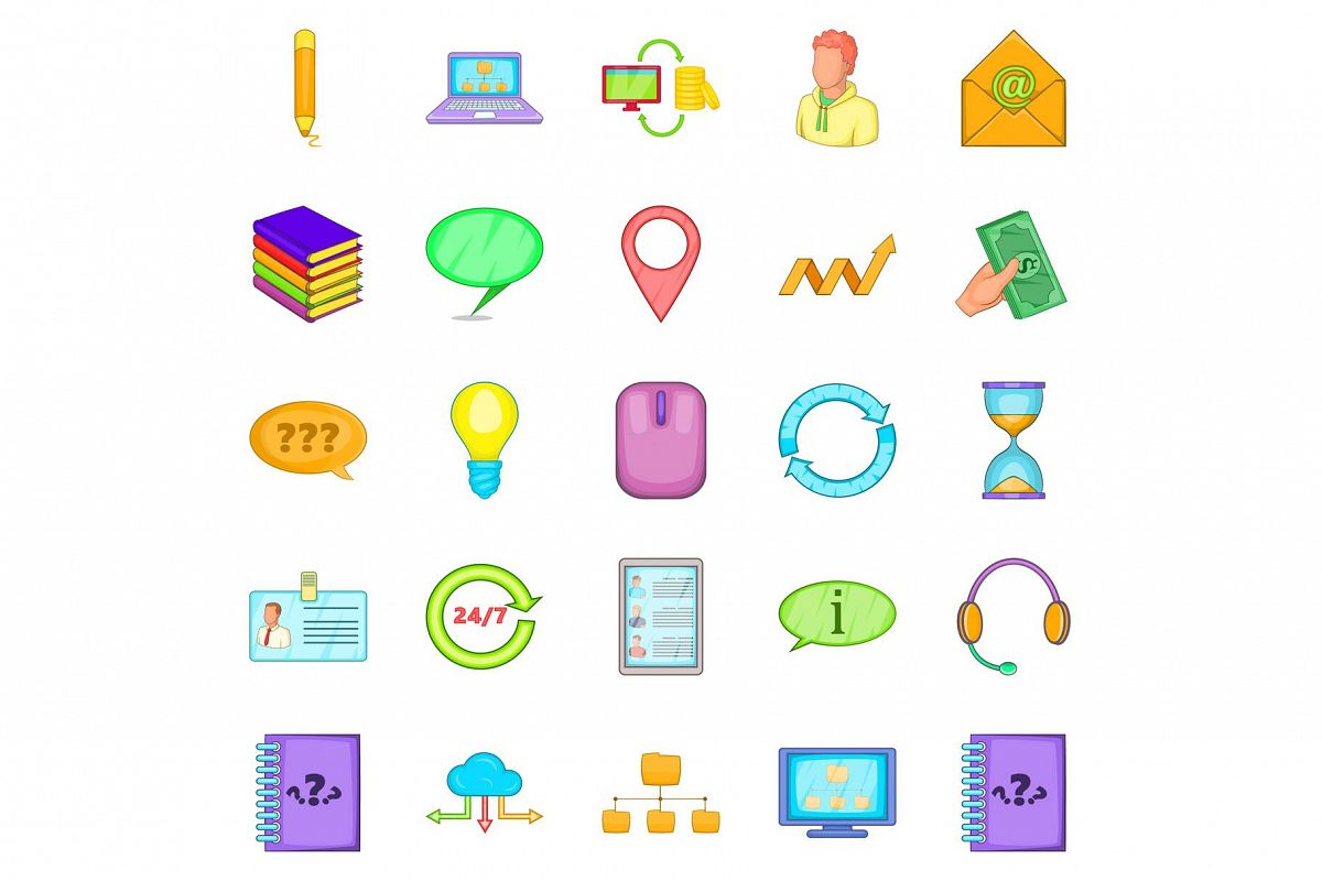 Call the office icons set, cartoon style example image 1
