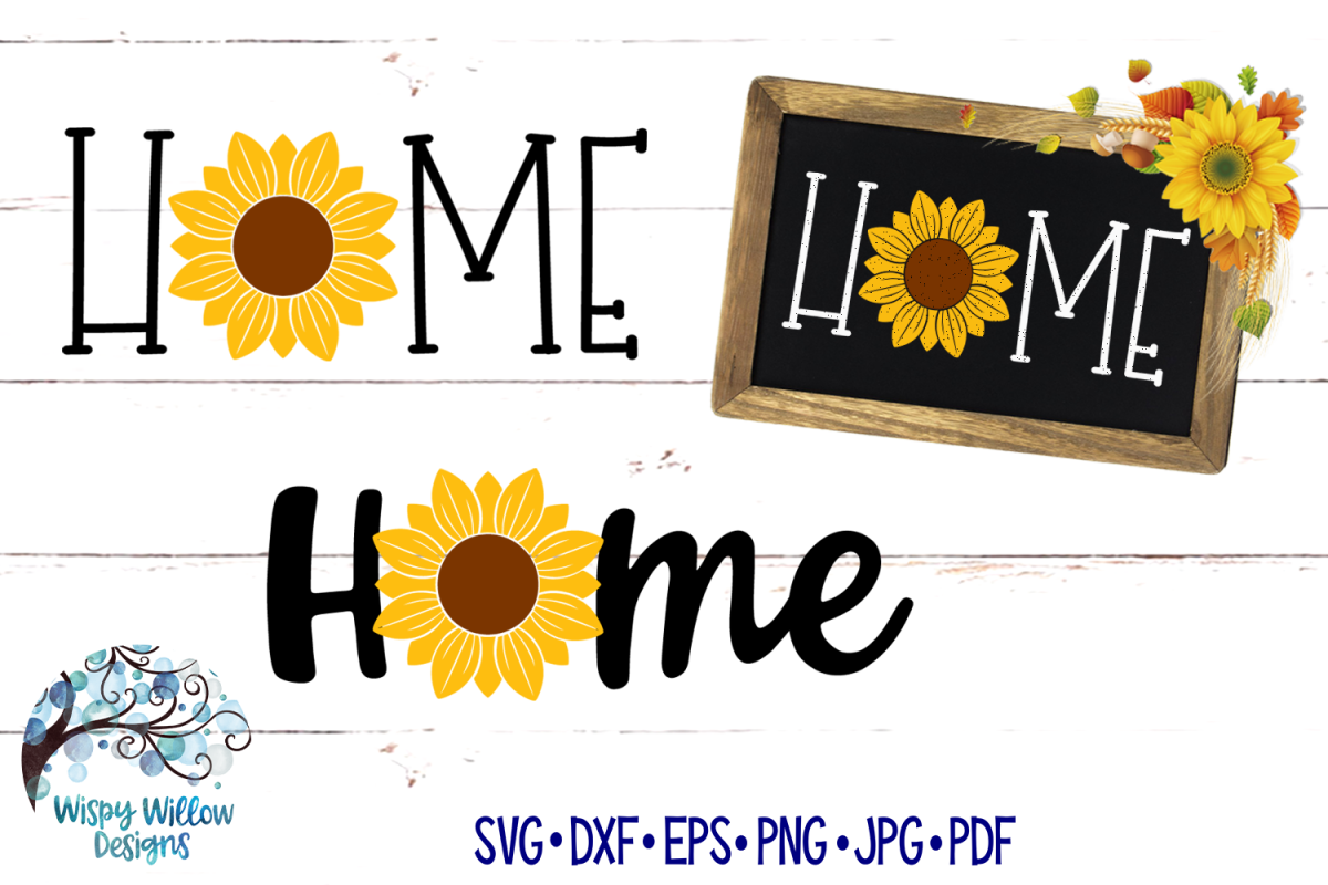 Home Sunflower SVG Set | Home Sign | Fall SVG Cut Files example image 1