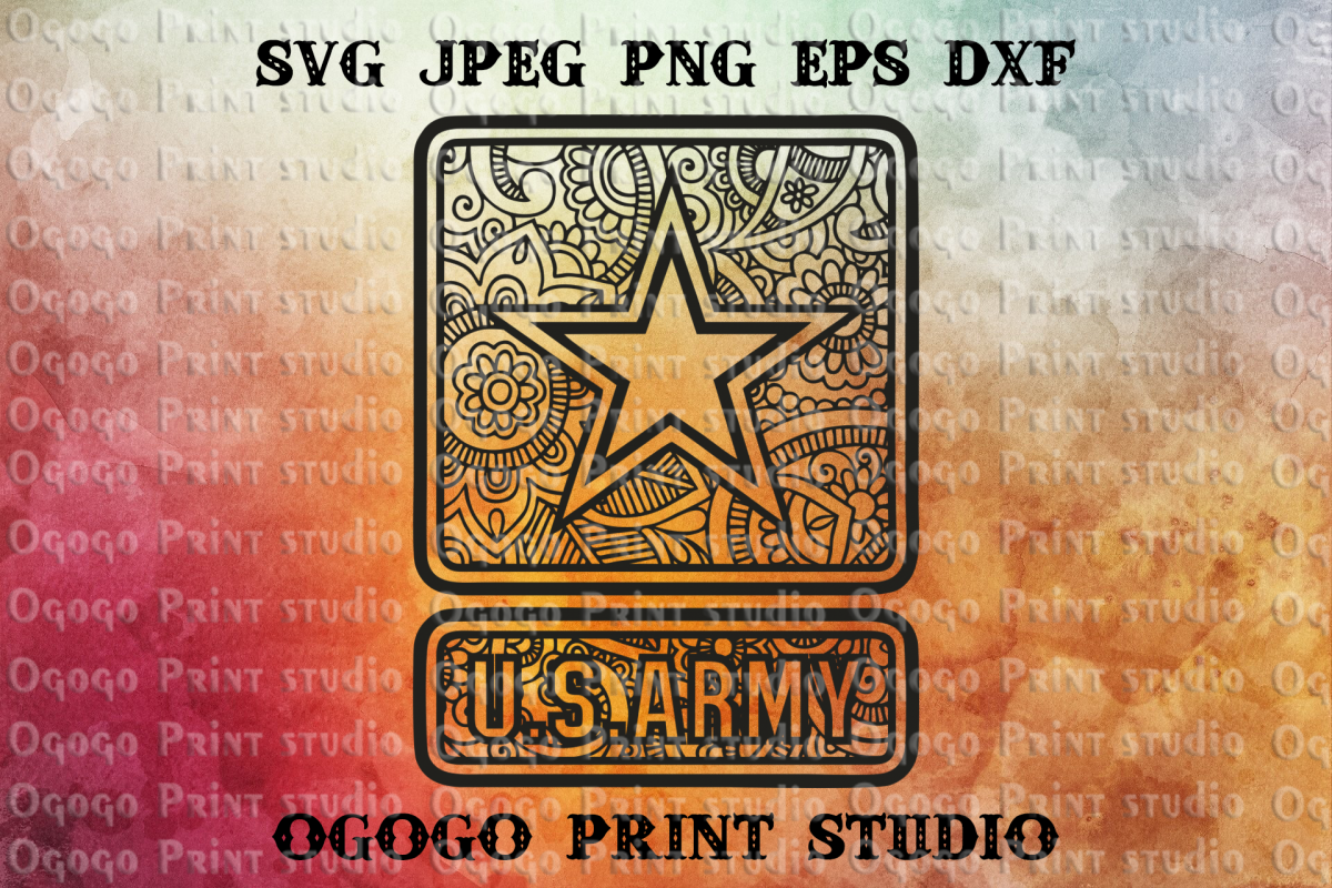 Mandala US Army Svg, United States Army Svg, Zentangle SVG example image 1