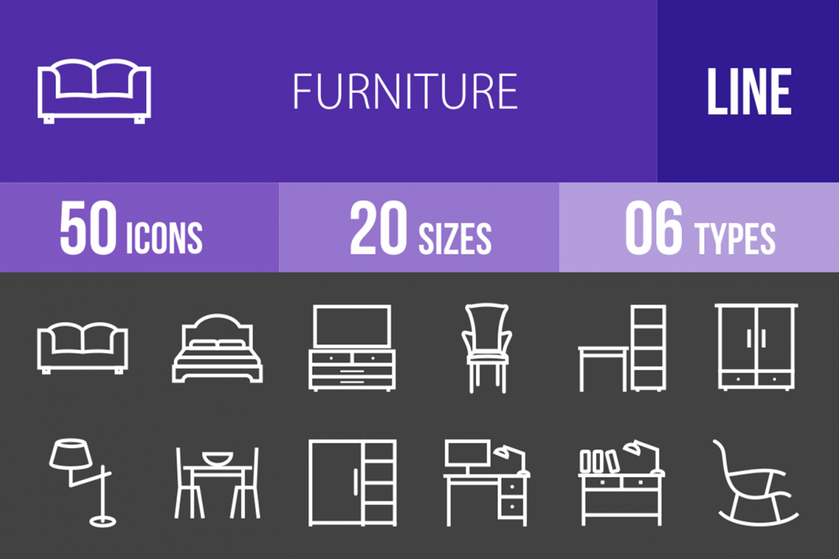 50 Furniture Line Inverted Icons example image 1