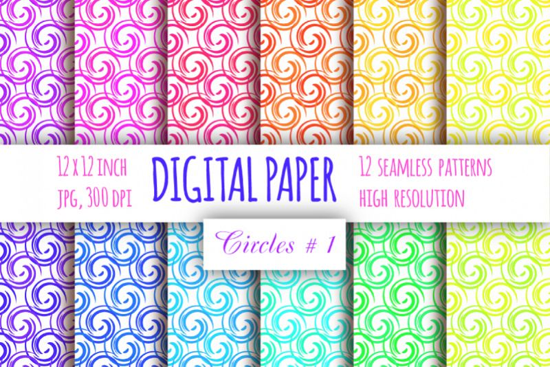 Curls digital paper. Abstract paper. Whirls seamless pattern example image 1
