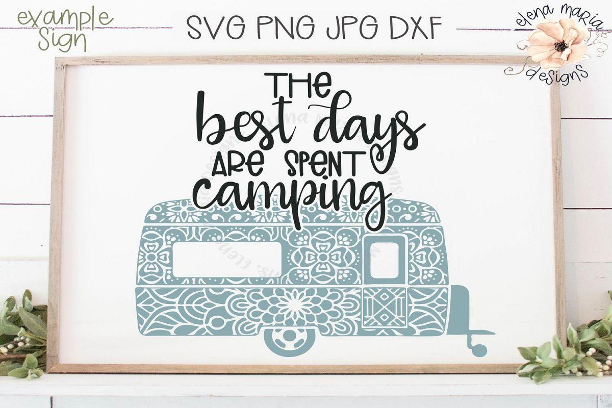 Camping Mandala Svg | RV Camper Trailer Zentangle example image 1