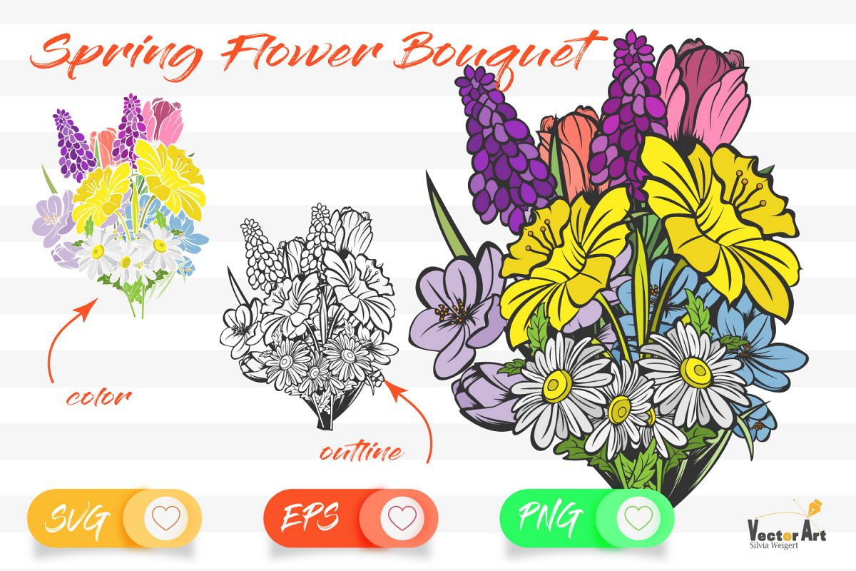 Spring Flower Bouqet - Cut File with 2 Layers example image 1