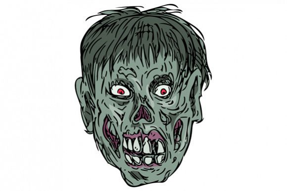 Zombie Skull Head Drawing example image 1