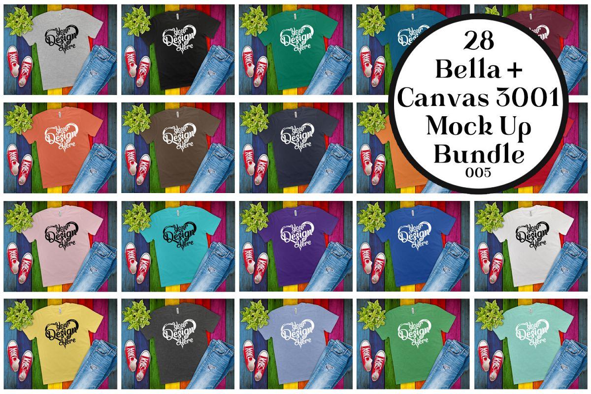 Bella Canvas 3001 Mockup Bundle Flat Lay T-Shirt Mock Ups example image 1