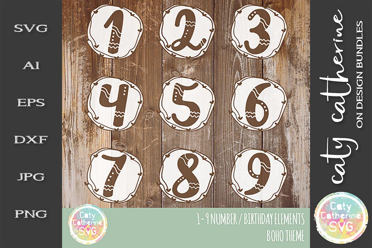 1-9 Boho Number Elements Kids Birthday SVG example image 1