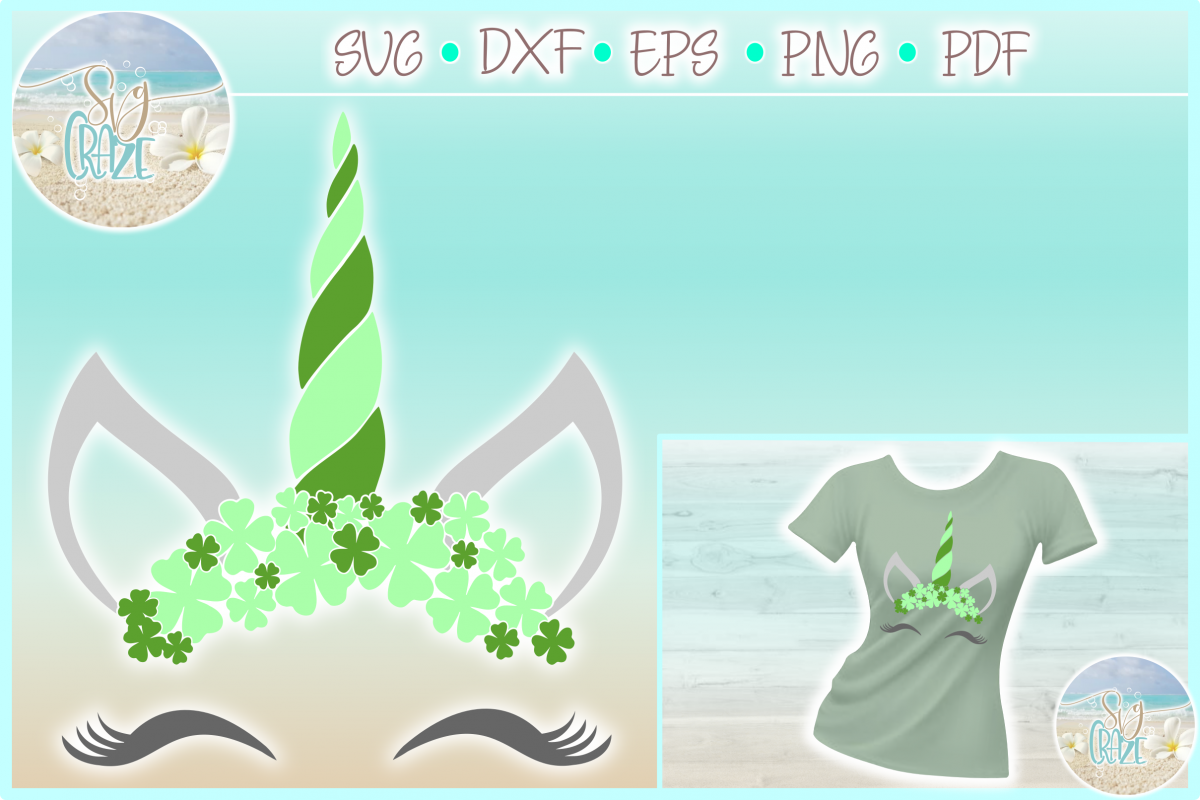 Unicorn with Clovers St Patricks Day SVG Dxf Eps Png PDF example image 1