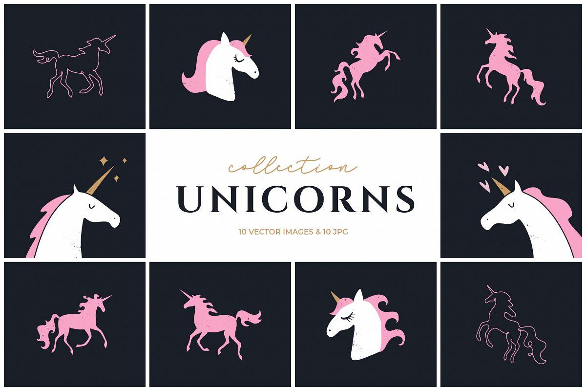 Vector unicorns clip art set example image 1