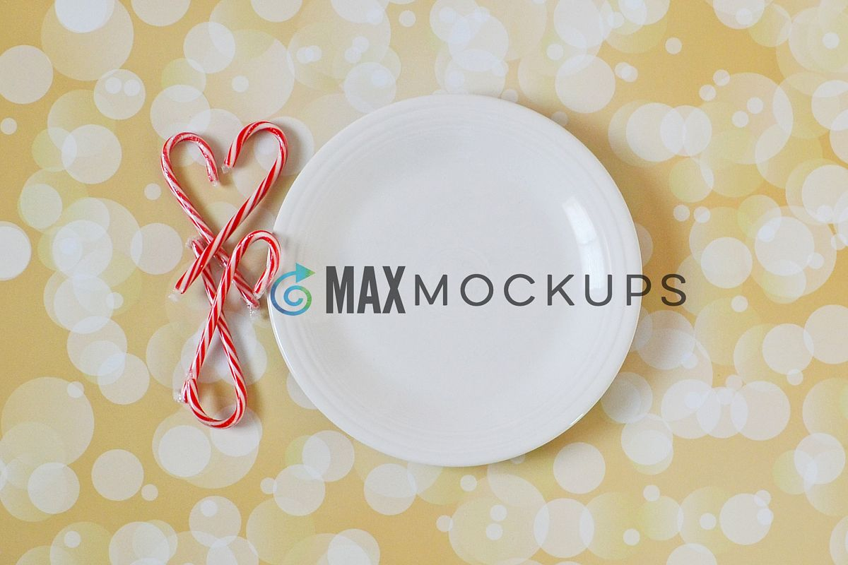 White Plate Christmas Mockup, plate sign, styled photography example image 1