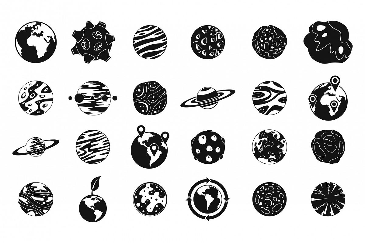 Universe planet icon set, simple style example image 1