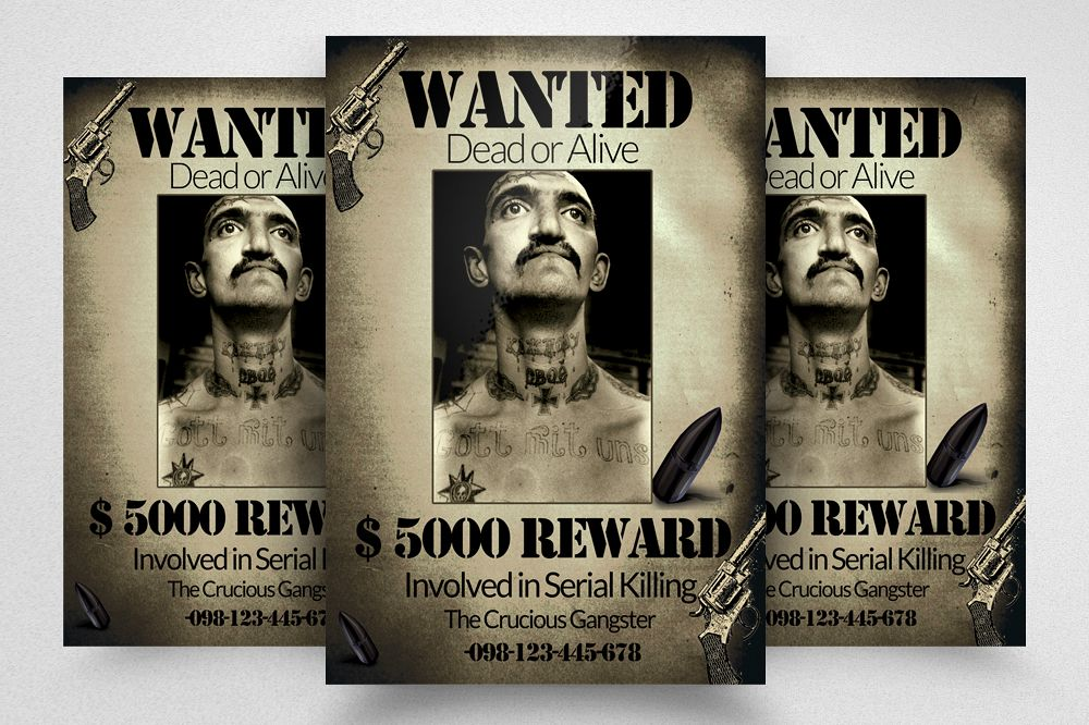 Vintage Wanted Poster Flyer Template example image 1
