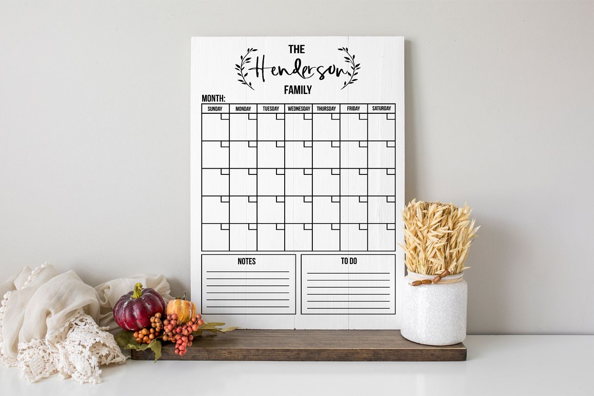 Customizable Family Monthly Calendar SVG example image 1