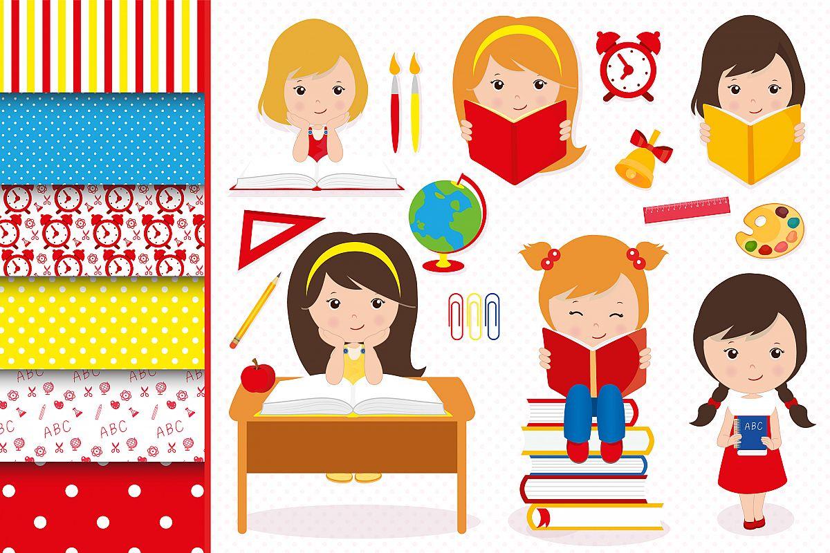 Hello school graphics, School digital papers example image 1
