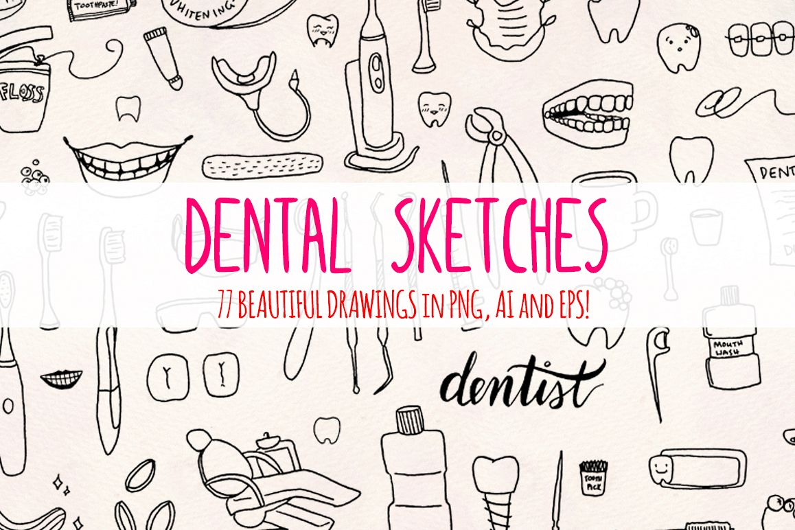 77 Dental and Dentist Vector Sketch Graphics example image 1