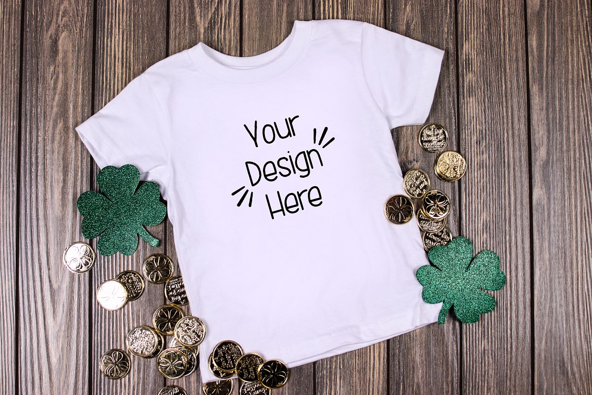 March Toddler Shirt Mockup White| St Patricks Day Shirt example image 1