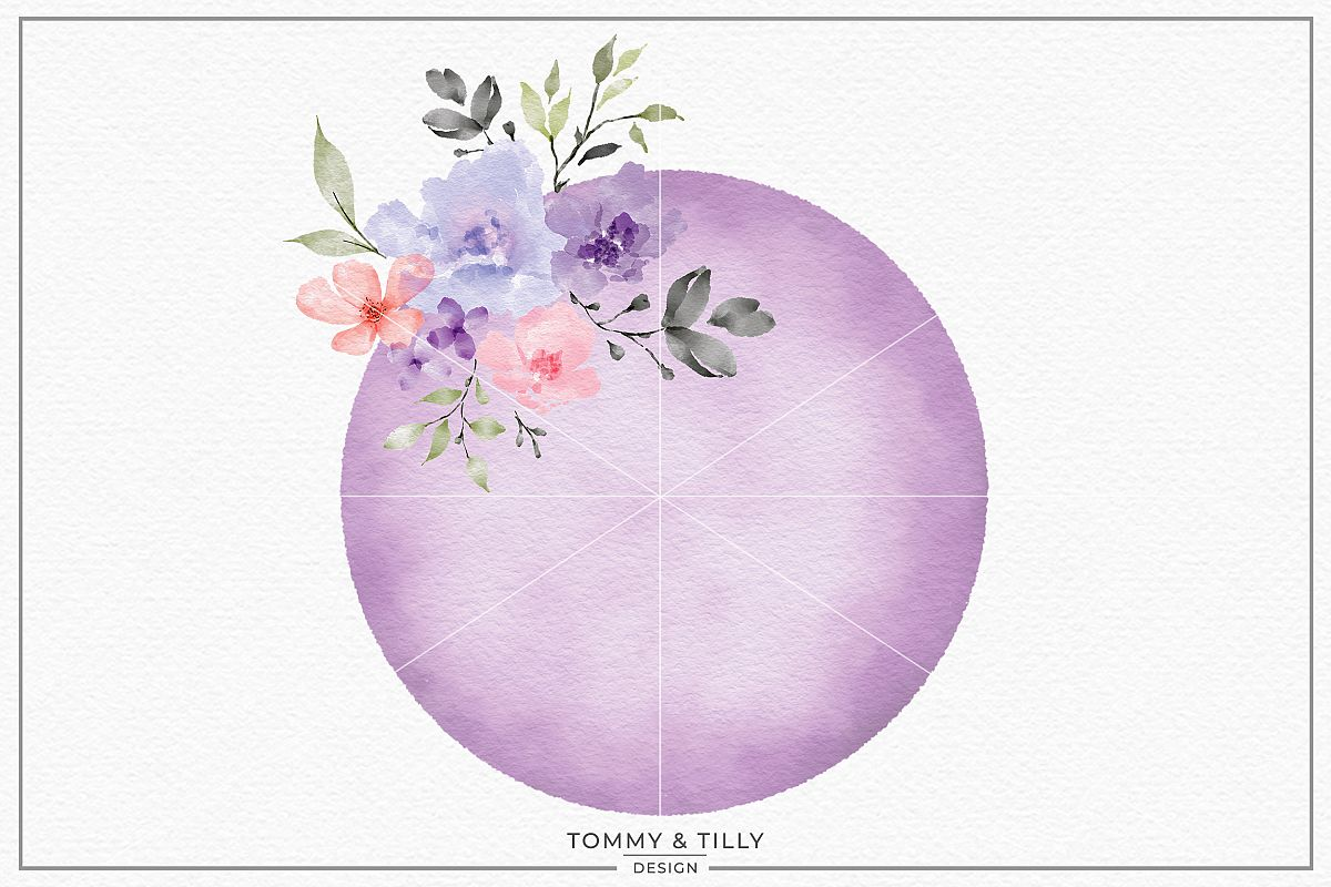 Lilac Floral Circle Sublimation Clipart Png