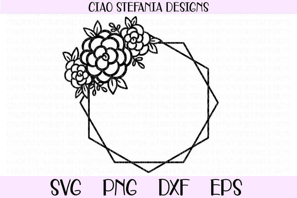 Flower Geometric Diamond Frame Wedding SVG PNG DXF EPS Cut example image 1