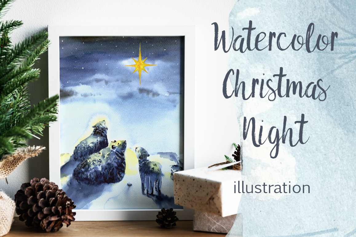 Watercolor Christmas Night Print example image 1