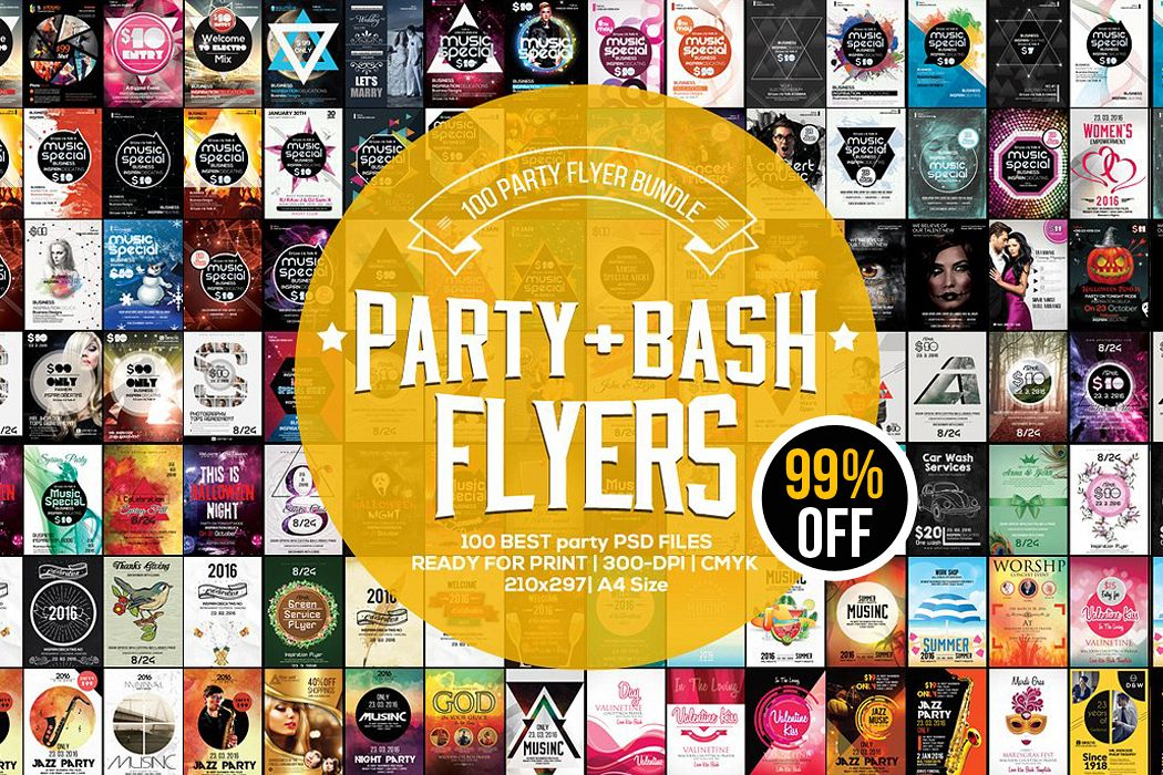 100 Party Flyers Bundle example image 1