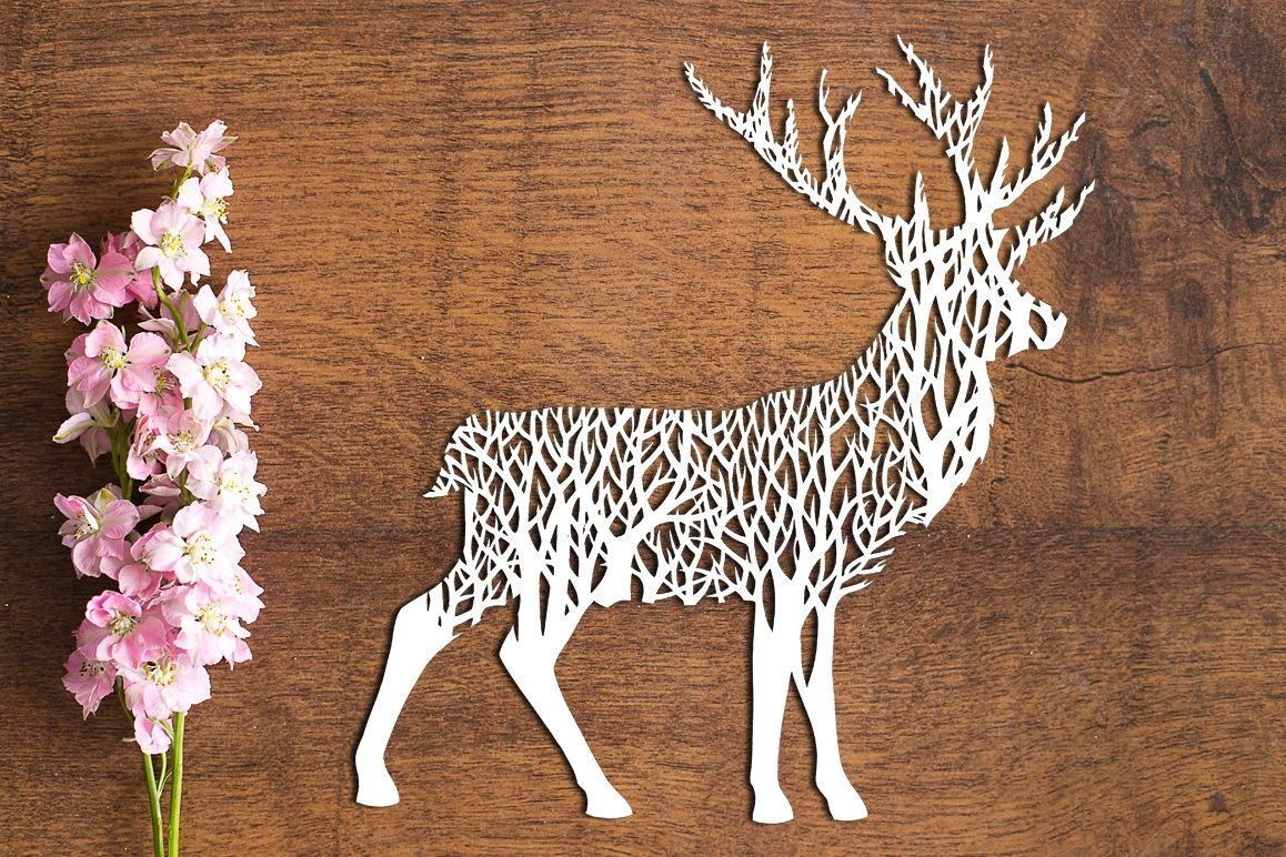 Forest Stag - Paper Cutting Template example image 1