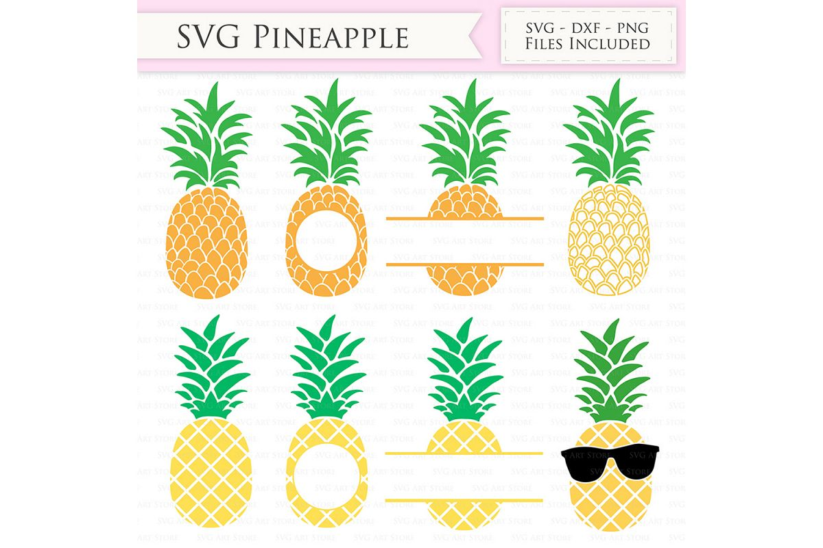 Pineapple SVG Files - Tropical Summer Pineapple monogram cut files for Cricut and Silhouette - SVG, dxf, png, jpg files Included example image 1