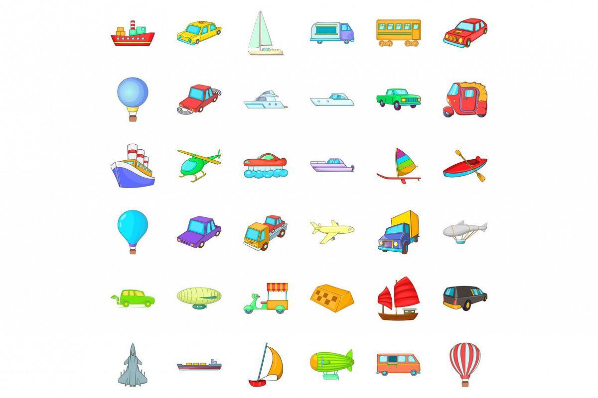 Big vehicle icons set, cartoon style example image 1
