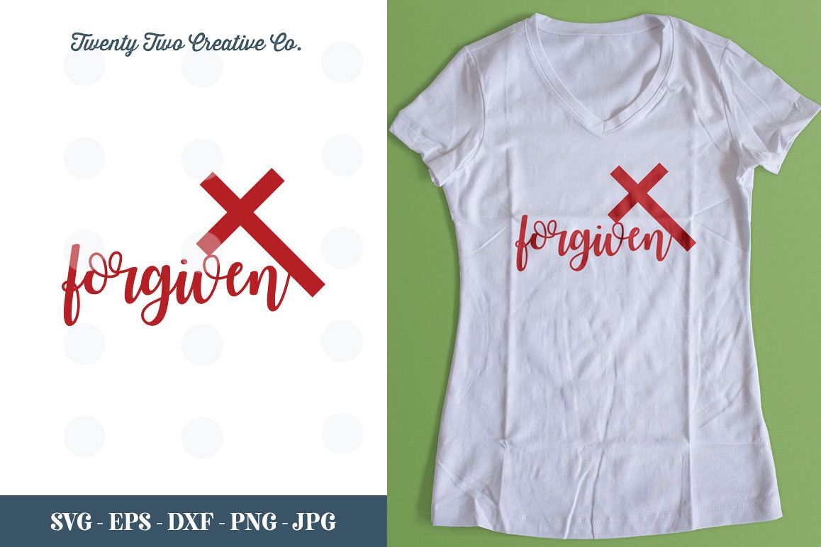 Forgiven Christian Easter Cut File - SVG, DXF, PNG, EPS, JPG example image 1