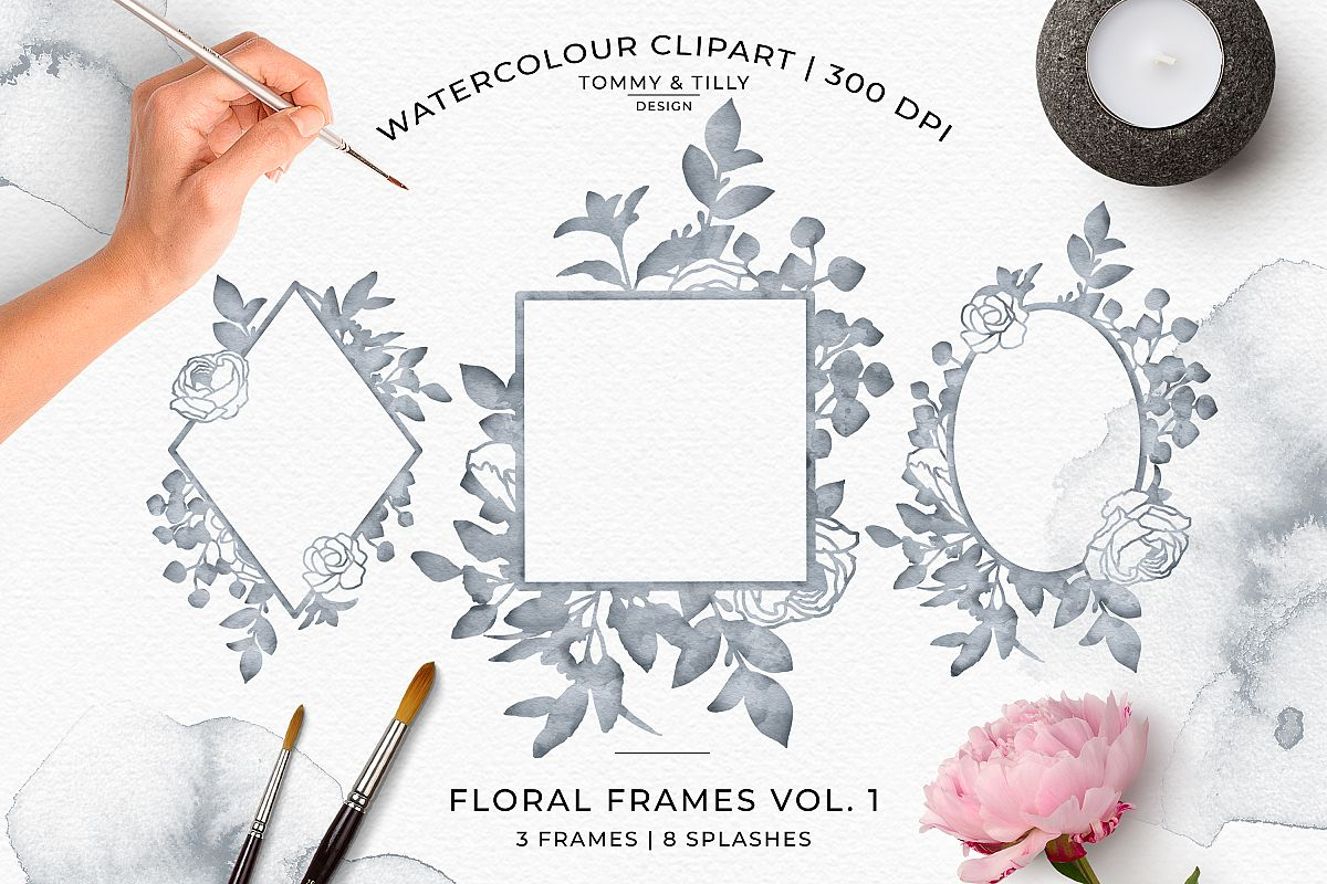 Watercolour Mist Grey Floral Frames - Wedding Clipart PNG example image 1