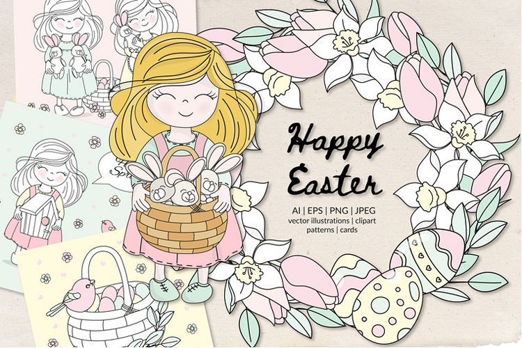 HAPPY EASTER Seamless Pattern Vector Illustration Set example image 1