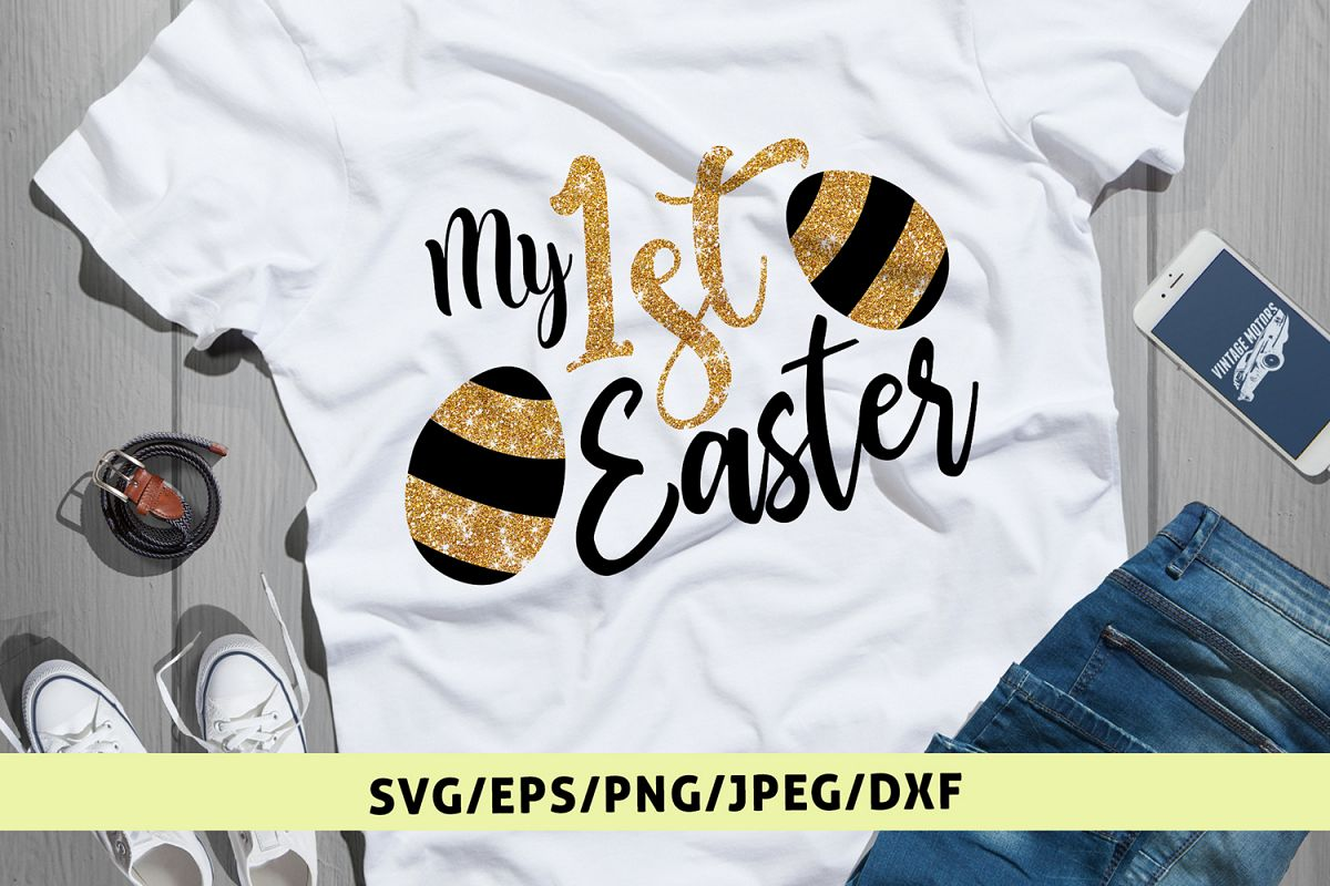 My 1st Easter - Easter SVG EPS DXF PNG Cutting Files example image 1