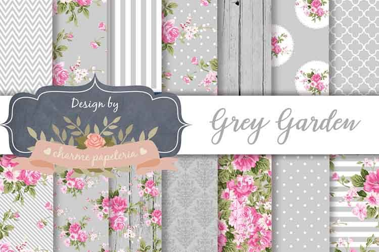 Gray Floral Digital Paper Floral Wedding Background