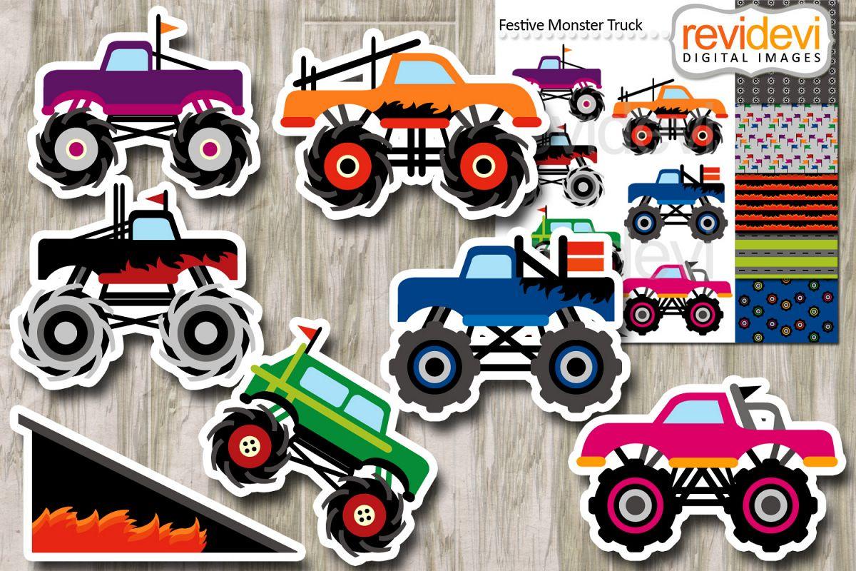festive monster trucks clipart digital papers rh designbundles net monster truck clipart black and white monster truck clipart png