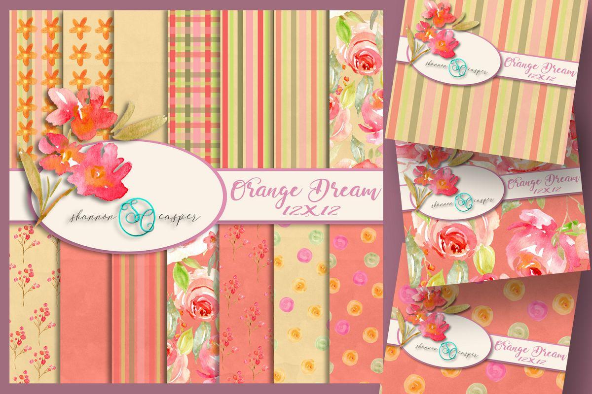Spring |Summer Orange Flower Digital Paper 12x12 example image 1