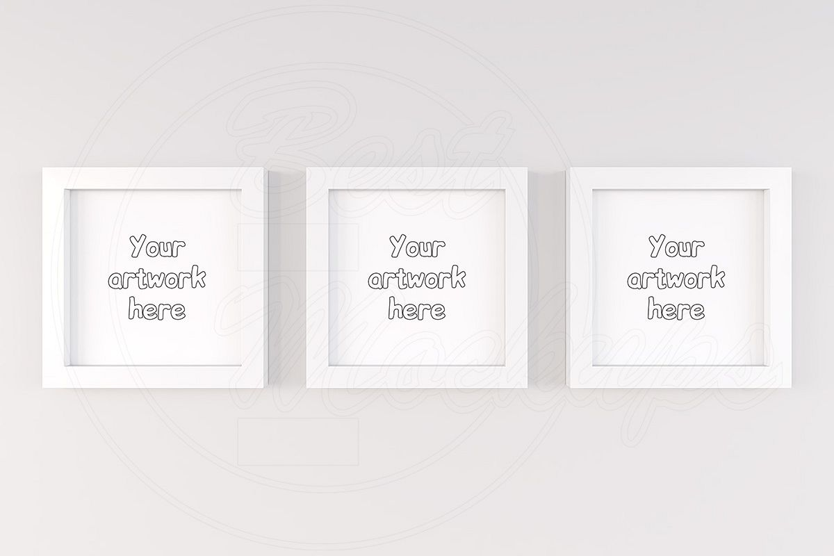 Triptych mock up white background example image 1