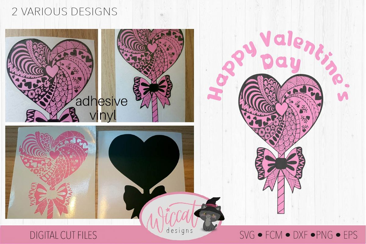 Lollipop zentangle Heart, valentine doodle heart svg example image 1