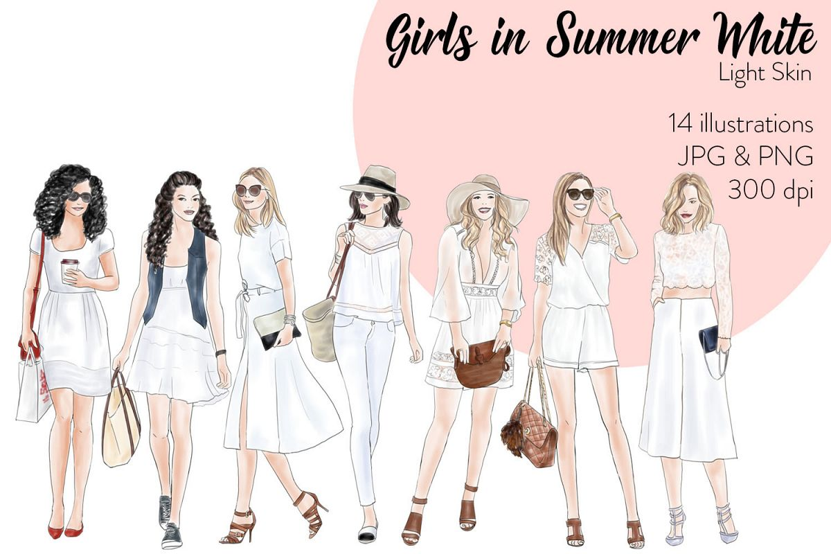 Watercolor Fashion Clipart - Girls in Summer White - Light Skin example image 1