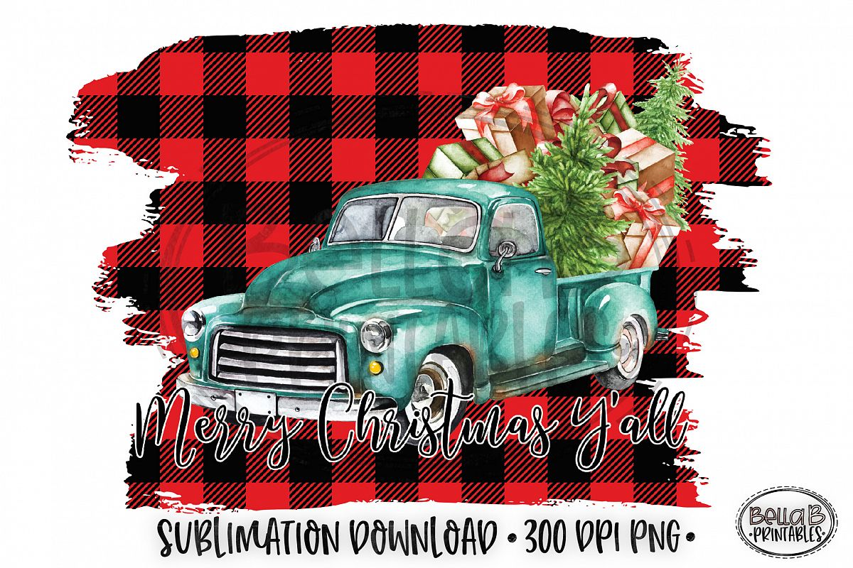Christmas Sublimation Design, Christmas Truck Sublimation example image 1