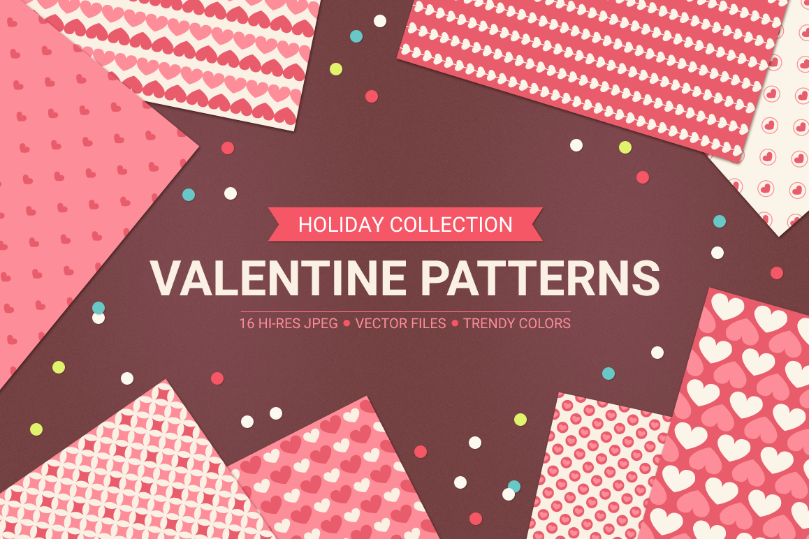 Valentine Seamless Patterns - Set 2 example image 1
