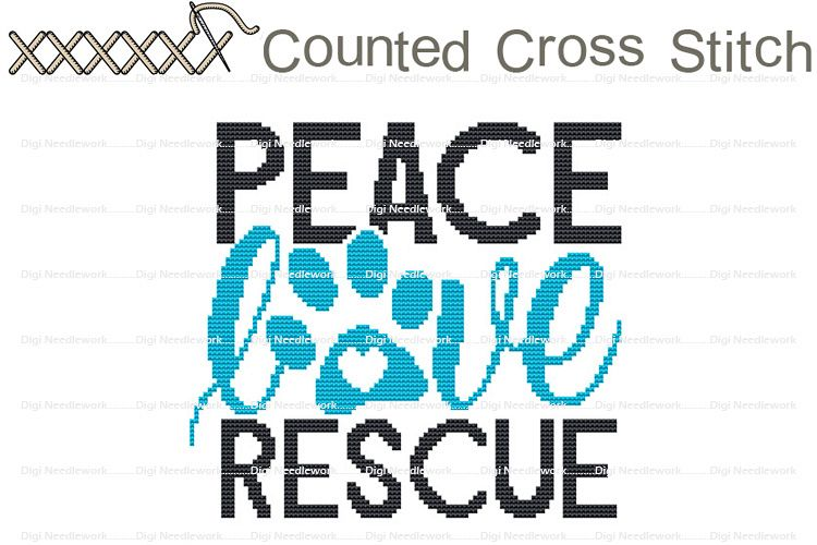 Peace Love Rescue Cat Dog Pet Shelter COUNTED Cross Stitch example image 1