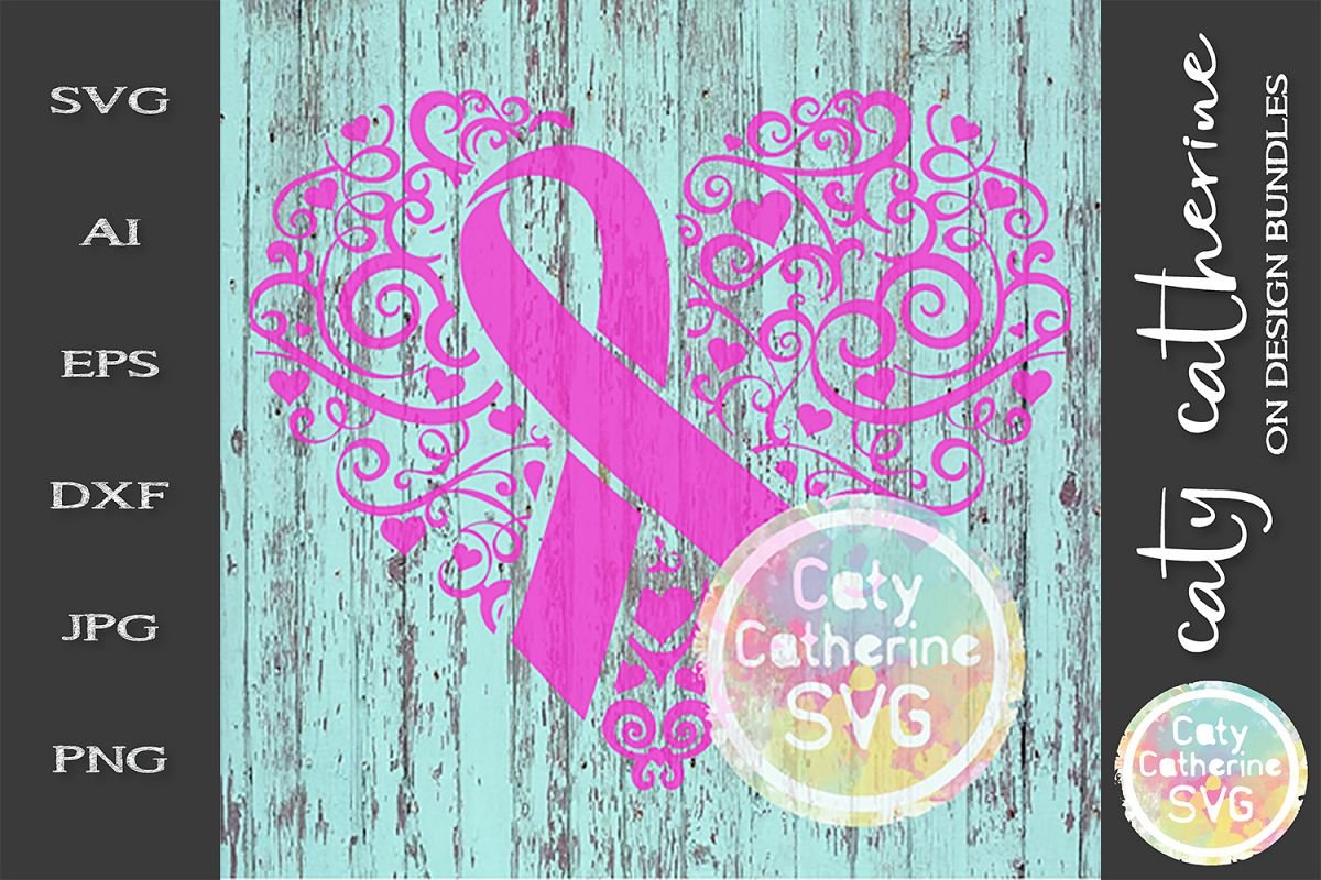 Cancer Ribbon Love Heart Awareness SVG Cut File example image 1