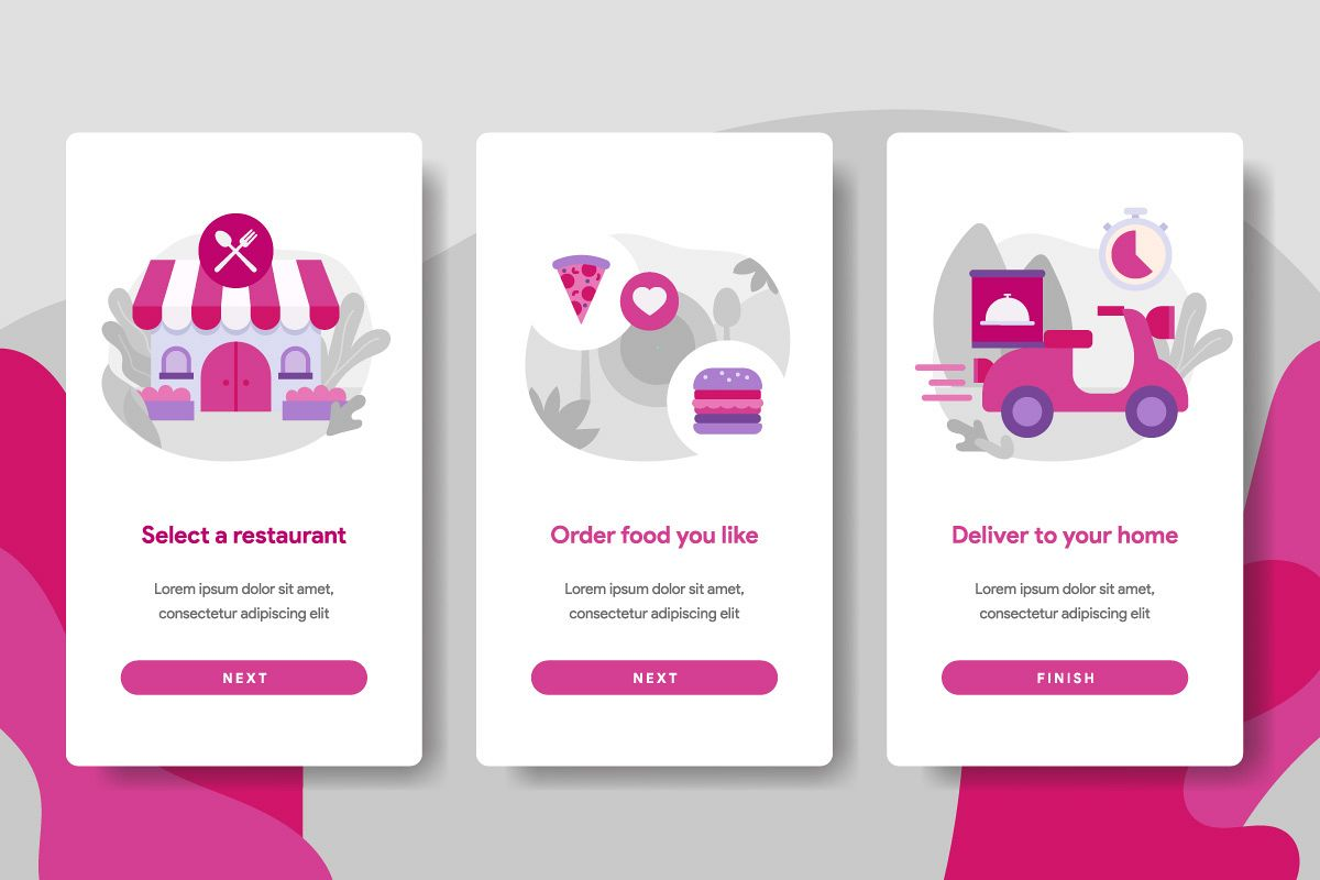 Onboarding screen page template of Online Food Delivery example image 1